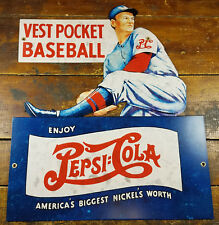 PEPSI COLA SODA VEST POCKET BASEBALL PLAYER HEAVY GAUGE METAL ADVERTISING SIGN