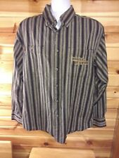Harley Davidson Button Front Brown Striped  Long Sleeve Shirt
