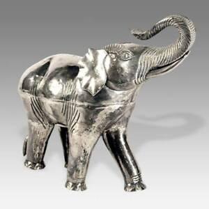 VINTAGE LIDDED VESSEL DEPICTING ELEPHANT SILVER BURMA MYANMAR 20TH C.