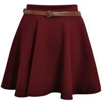 Ladies Skirts Womens Belted Flared Plain Mini Skater Party Skirt Sizes UK 08-22