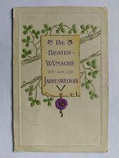 Besten Wunsche zum  Jahreswechsel Germany Vintage embossed colour Postcard 1907
