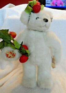 """White 11"""" Strawberry Sweetheart plush bear from Annette Funicello w/ stand"""