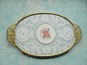 VINTAGE petit point & lace oval glass  DRESSING TABLE TRAY WITH ormolu FILIGREE