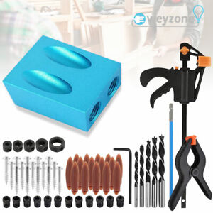 57x Woodworking Pocket Hole Screw Jig Kit Guide Drill Angle Locator Hole Puncher