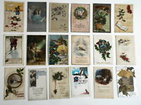 LOT OF 30  MERRY CHRISTMAS  ANTIQUE POSTCARDS SOME SANTA CLAUS