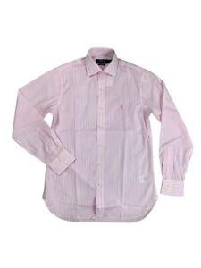 Ralph Lauren Polo Mens Pony Logo Striped Dress Shirt Pink/White New
