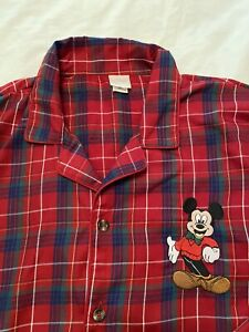 Disney Men's XL Red Plaid Embroidered Mickey Mouse Pajama Set