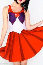 Cute Sailor Moon Digital Print Skater Dress Womens Girls Cosplay Costume 6 - 8