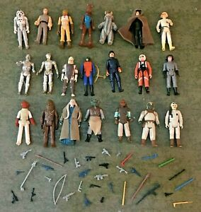 Vintage Star Wars Kenner Lot of 21 Action Figures Repro Weapons