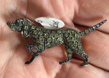 9CT GOLD,POINTER GUNDOG Tourmaline gemstones IN SILVER,Field Trials DOG BROOCH
