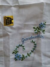 """""""Grandmother"""" Handkerchief, Blue Embroidered New All Cotton"""
