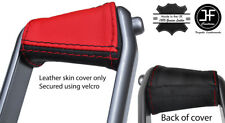 BLACK & RED LEATHER HANDBRAKE HANDLE COVER FOR RENAULT MEGANE 02-08 STYLE 2