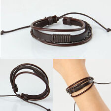 Fashion Womens Mens Brown Leather Interlaced Cuff Bangle Wristband Bracelet