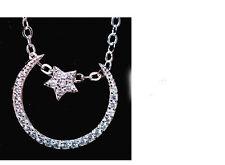 Trendy Sweet Zircon Moon Star 925 Silver Plated Women Pendant Necklace Gift