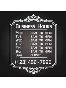 Custom Business Store Hours Sign Vinyl Decal Sticker 12x18 Window Door Glass ext