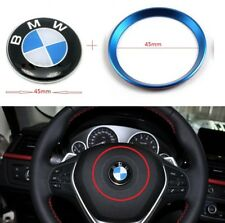 2× BMW Steering Wheel Center Cap Emblem LOGO + Blue Ring Trim Cover 45mm