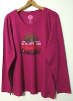 Life Is Good Crusher V-Neck L/S T-Shirt Women's Large Family Ties Wild Plum NWT