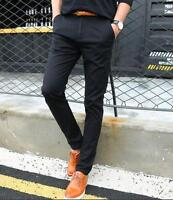 Fashion Mens Pockets Casual Dress Skinny Slim Linen Pants Trousers Size 28-38