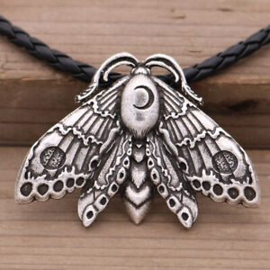 Acherontia Moon Rune Moth Insect Butterfly Animal Pendant Gothic Necklace New