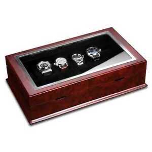 Ferocase Uhrenbox FC5052ELM für 12 Uhren - Ulmedekor rot