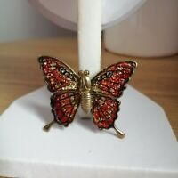 Vintage T W Gold Tone Red Sparkly Glitter Butterfly Admiral Pin Back Brooch