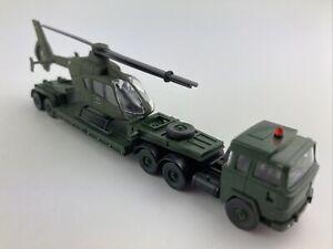 #651 Wiking 1:87 Konvolut Magirus Schwerlastsattelzug mit Hubschrauber MILITÄR