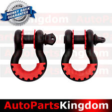 """1 Pair 3/4"""" Black 4.75 ton D-ring Shackle+RED Isolator Washers Silencer Clevis"""