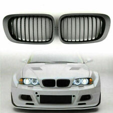 Front Kidney Hood Grill Grille Carbon Fiber Style For BMW E46 2D Coupe 98-02 T08(Fits: M3)