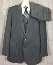 Mannos Mens Grey Striped Wool 3pc Suit 46 Long 37x28 (t10)