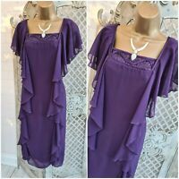 KLASS UK 14 Purple Chiffon Ribbon Bust Layered Ruffle Midi Dress Mother of Bride