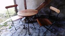 """table """" gueridon""""d:65cm-h:76cm avec 2 chaises pliantes de comptoir de famille"""