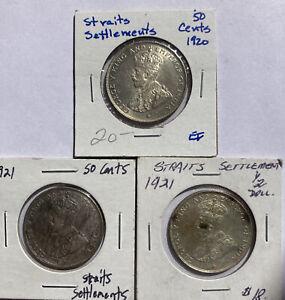 lot 3 Straits Settlements 50 cents silver coins 1920 1921 AU UNC