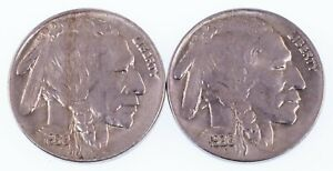 Lot of 2 1930 Buffalo Nickels (P + S) in AU Condition, Natural Color