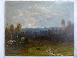 Moritz Gustav Müller d. Ä.: Rehe auf einer Waldlichtung. Öl auf Karton. Signiert