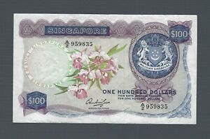 SINGAPORE $100 Dollars 1972, Orchid Series P-6c Tan O-6c Sen w/o Seal, Rare VF