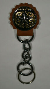 "Concho Key Fob w/chain - 1 1/2"" SIlver Star w/Gold Design (J9)"