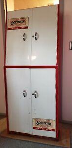 1960's vintage metal Sorensen Ignition Parts service display cabinet, 2 pieces