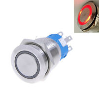 19mm 12V  RED Led Stainless Push Button Switch Momentary Type