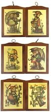 Set 6 Vintage Manchester Wood Vermont Hummel Picture Wall Hangings 1970s 7x5.25""