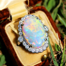 Vintage Oval Australian Opal Ring with Diamonds in 18kt White Gold