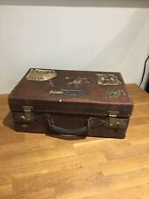 Vintage Small Brown Leather Suitcase/case , Original Labels