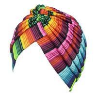 Muslim Women Cancer Hat Chemo Cap Hair Loss Head Scarf Turban Print Striped S6D0