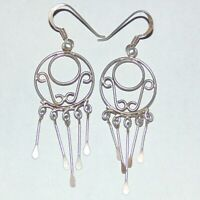 Vintage sterling silver wire filigree circle fringe drop dangle pierced earrings