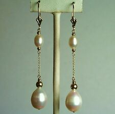14k solid gold natural teardrop freshwater white pearl earrings leverback
