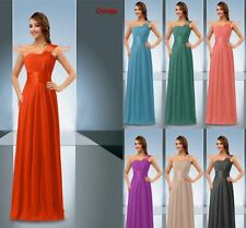 One Shoulder Bridesmaids Dress Long Chiffon Evening Prom Wedding Gown Size 6-26