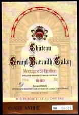 Etiquette Château GRAND BARRAILH CALON. 1989. MONTAGNE - SAINT EMILION.