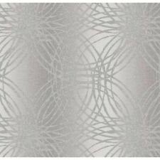 TEXTURED SILVER METALLIC CIRCLES VINYL DESIGNER FEATURE WALLPAPER BOA-015-03-4