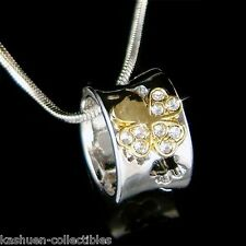 Irish w Swarovski Crystal 4 Leaf Clover Lucky Shamrock Ring Pendant Necklace New