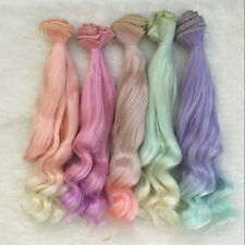 POP 12# 25cm Long  Colorful Ombre Curly Wave Doll Wigs Synthetic Hair For Dolls