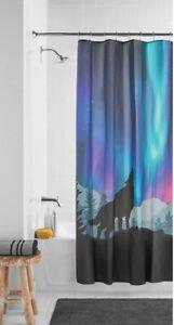 "New Mainstays Northern Lights Howling Wolf PEVA Vinyl Shower Curtain 70"" X 72"""